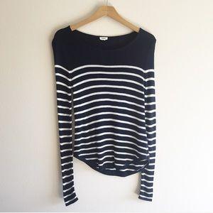 Garage Navy & White Striped Sweater